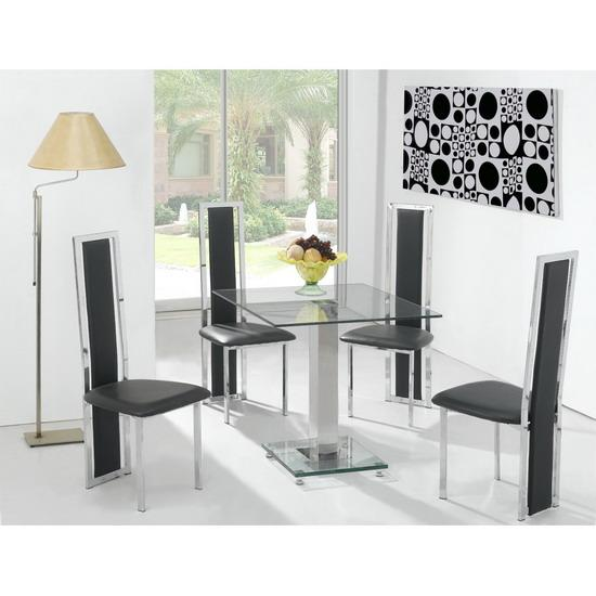 New square clear glass dining table and 4 tall chairs ebay for Tall glass dining table