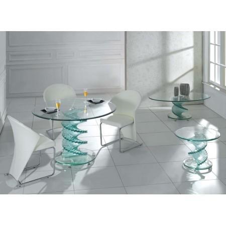 Swirl All Clear Glass Dining Table 4 Chairs Kk Furniture Supplier