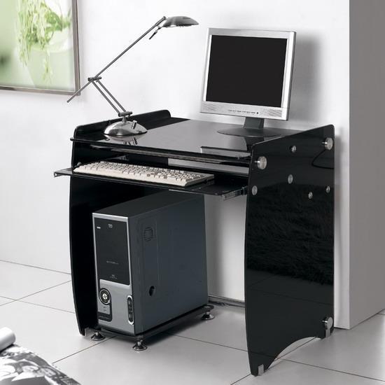 Black glass small computer laptop desk workstation ebay - Table basse ordinateur ...