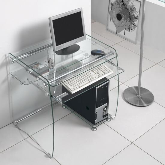 Black glass computer desk work station small boxey for Small clear desk