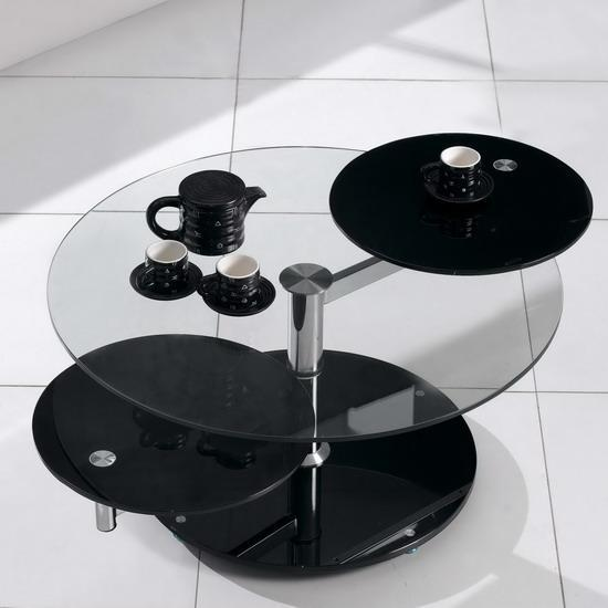 Round Black Glass Extending Rotating Coffee Table Ebay