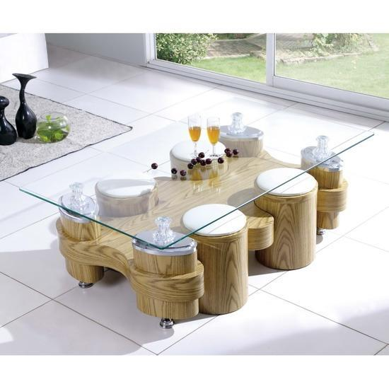 Beijing Glass Topped Oak Coffee Table With 4 Stools Ebay