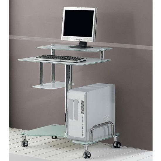 Clear Amp White Glass Computer Desk Workstation Kk