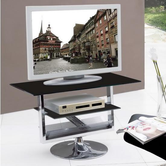 Black Clear Glass Chrome Rotating Tv Stand Unit Kk Furniture