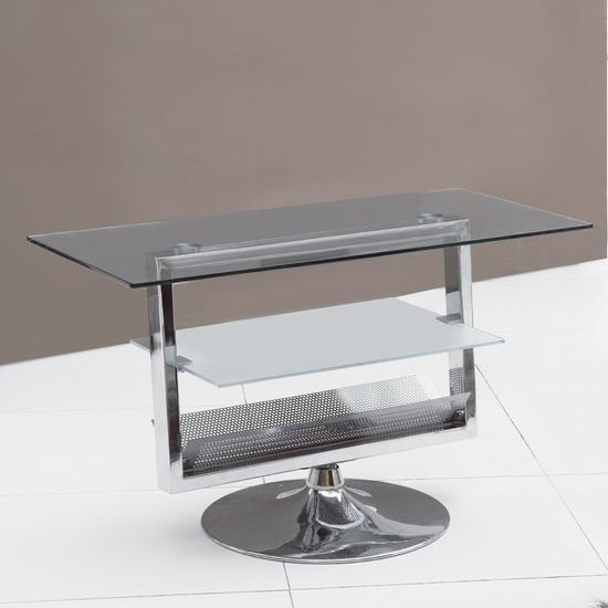 Black Amp Clear Glass Chrome Rotating Tv Stand Unit Kk