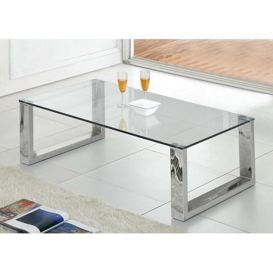 Clear Glass Amp Chrome Coffee Table Kk Furniture Supplier