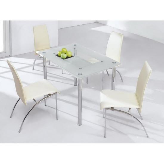 small frosted glass dining table 4 chair set kk furniture supplier. Black Bedroom Furniture Sets. Home Design Ideas