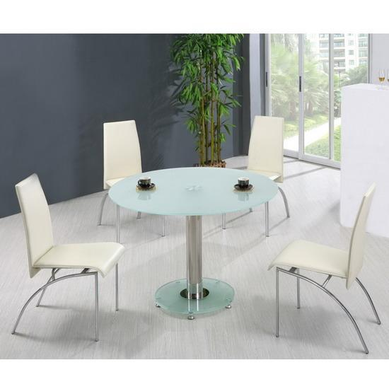 small round frosted glass dining table and 4 chairs ebay. Black Bedroom Furniture Sets. Home Design Ideas