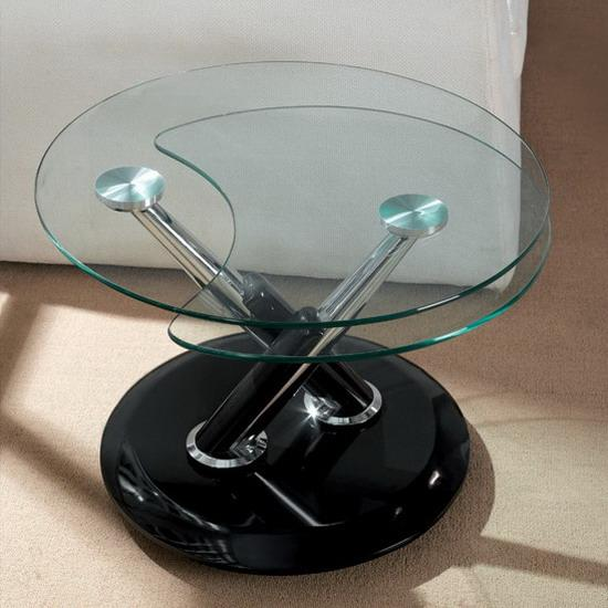 Twist Black Extending Rotating Coffee Table With Glass Images Hosted At