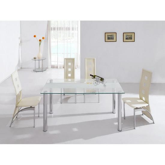 Frosted Glass Dining Table 4 Cutout Chairs Kk Furniture Supplier