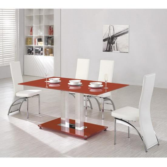 Red glass dining table 160cm 6 tall chairs kk for Tall glass dining table