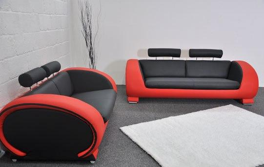 Marvelous Black Red Faux Leather Sofa Set 3 2 Kk Furniture Supplier Gamerscity Chair Design For Home Gamerscityorg