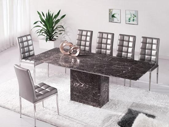 Brown Grey Extending Dining Table 6 Chairs Marble