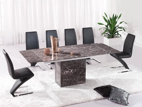Fancy Brown extending dining table u Z chairs Marble