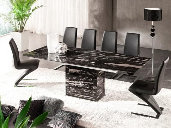 black marble extending dining table and 6 z chair set ebay
