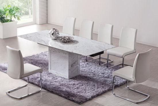 white marble dining table White/Brown extending dining table (Marble)   kk furniture supplier white marble dining table