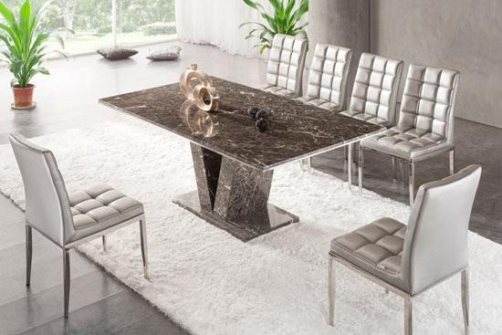 Brown Grey V Leg Dining Table Marble