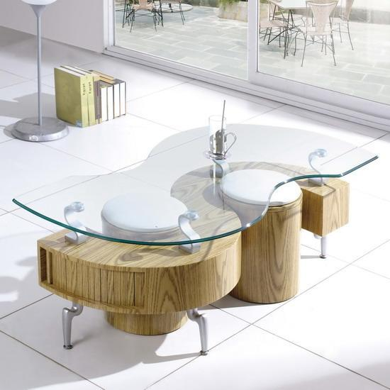 Shanghai Glass S Shaped Coffee Table Oak With Stools