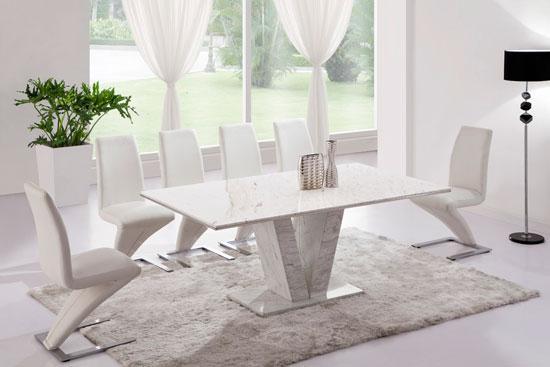 white marble dining table White marble V leg dining table & 6 Z chairs (Marble)   kk  white marble dining table