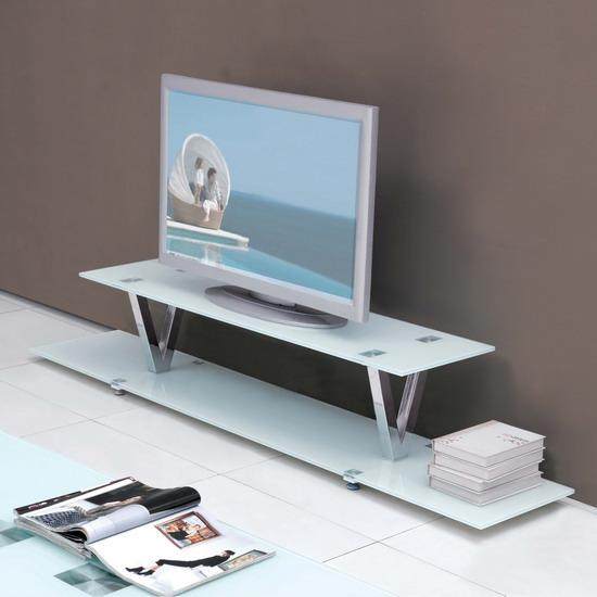 V large white glass tv lcd plasma stand unit table ebay for White plasma tv stands