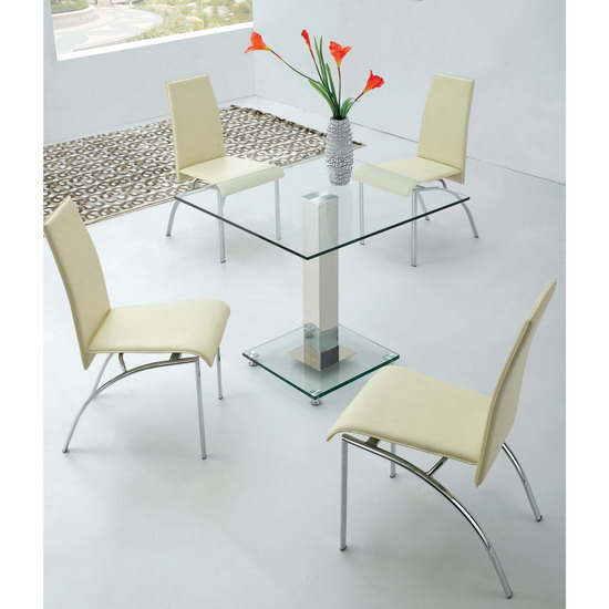 Square Ice Glass Dining Table 4 Chairs Kk Furniture Supplier