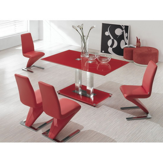FABULOUS RED GLASS DINING TABLE 6 Z CHAIRS SET Images  : 924269ice red dining table z red chair from www.biggerbids.com size 550 x 550 jpeg 77kB