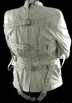 REAL LEATHER (WHITE) HEAVY DUTY STRAIGHTJACKET STRAIGHT STRAIT