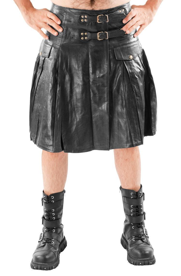 Mens Leather Kilt Pleated With Twin Buclkes Most Sizes Ebay