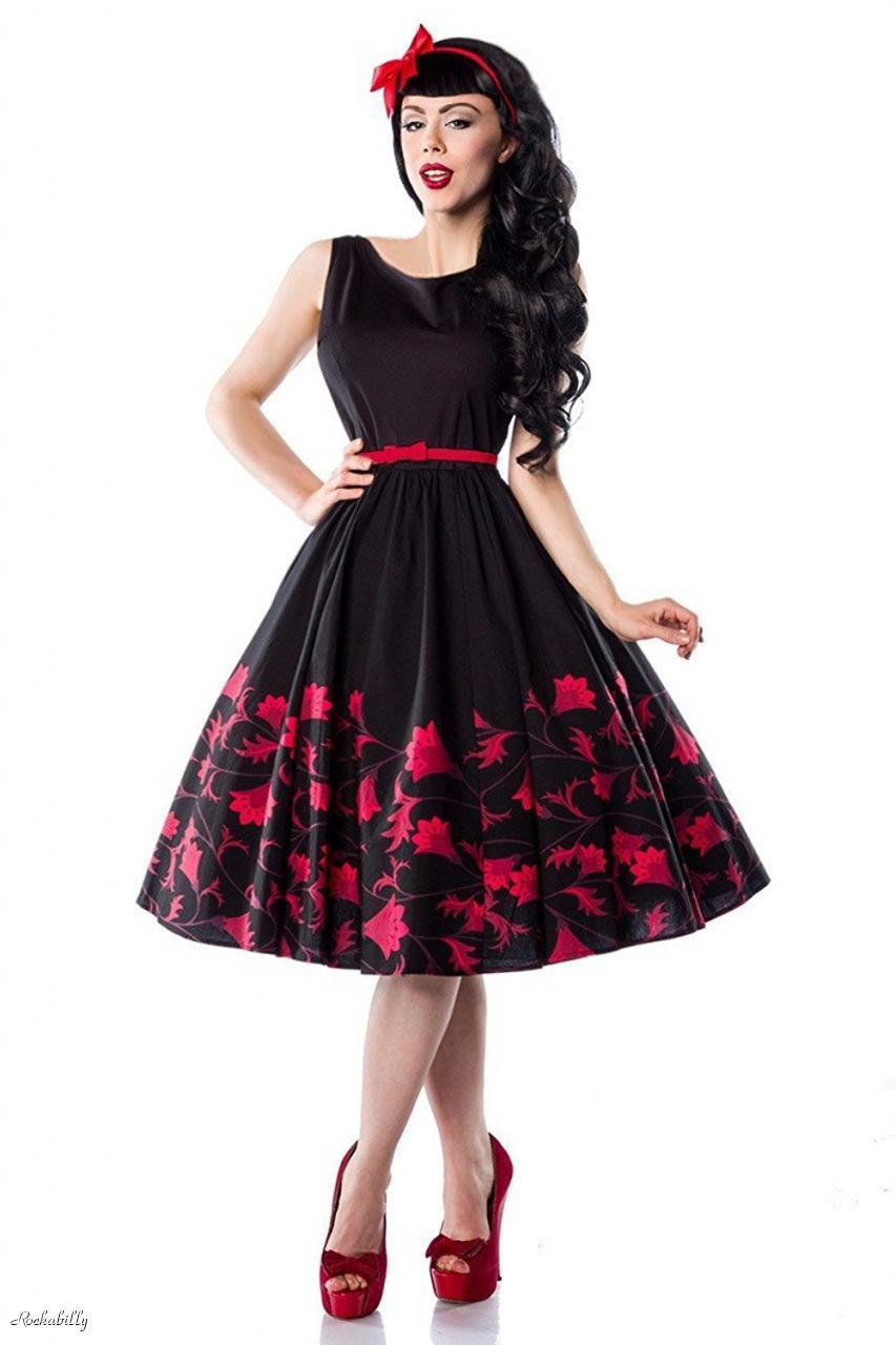 0f77d4a8d92c3 Details about 40 10 RETRO ROCKABILLY HEPBURN PINUP BLACK RED FLORAL 50s 60s  ALINE SWING DRESS